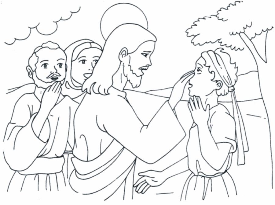 Hermosa Jesus Cura Al Ciego Para Colorear Patrón - Dibujos Para ...